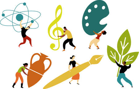 Graphic representation of arts and science, people holding symbols of music, research, writing, EPS 8 vector illustration