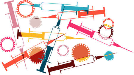 Syringes and viruses vector illustration representing vaccine research, EPS 8, no transparencies