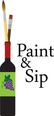 Painting brushes in a wine bottle representing a paint and sip party, EPS 8 vector illustration