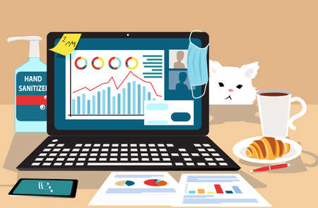 Work station at home during pandemic lockdown, showing a laptop, hand sanitizer, face mask, breakfast and a cat, EPS 8 vector illustration Illustration