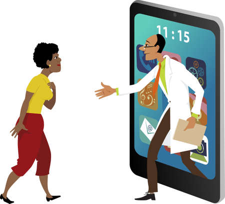 Doctor stepping out of a smartphone and shaking hands with a female patient, EPS 8 vector illustration on tele-medicine