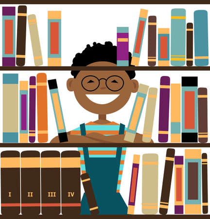 Smiling boy looking through library book shelves, EPS 8 vector illustration