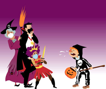 Family in Halloween costumes wearing protective face masks scared of a unmasked child, sniffing at them and spreading germs, EPS 8 vector illustration