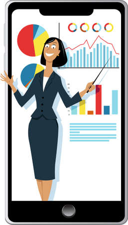 Business woman doing a work presentation over a smartphone, EPS 8 vector illustration