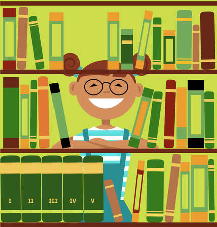 Smiling girl looking through library book shelves, EPS 8 vector illustration