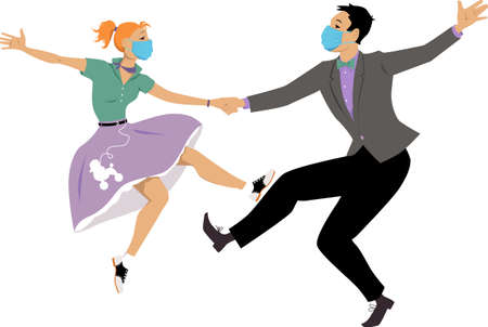 Couple dressed in fifties fashion dancing rock and roll wearing face masks, EPS 8 vector illustration