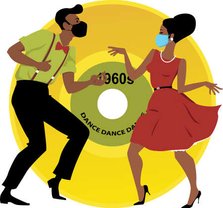 Couple in retro style clothing dancing the Twist wearing facial masks, 1960's music vinyl record on the background, EPS 8 vector illustration