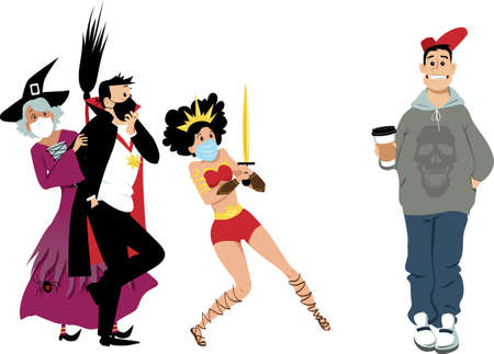 Group of friends in Halloween costumes wearing protective face masks scared of a unmasked person, EPS 8 vector illustration Illustration