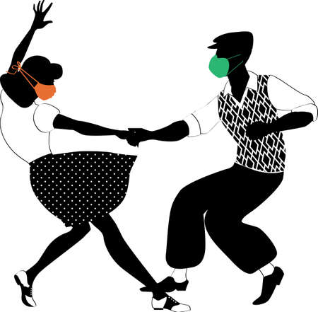 Black vector silhouette of a couple dancing Lindy hop wearing retro fashion clothing and facial masks, Illustration