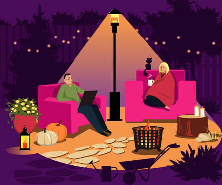 Couple sitting in the illuminated backyard under a patio heater at night in fall, seasonal decorations around, EPS 8 vector illustration