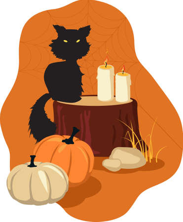 Fall and Halloween theme design with a black cat, pumpkins and candle, EPS 8 vector illustration  イラスト・ベクター素材