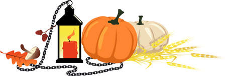 Fall harvest theme still life for a header with a pumpkin, lantern, chain and wheat, EPS 8 vector illustration Illustration