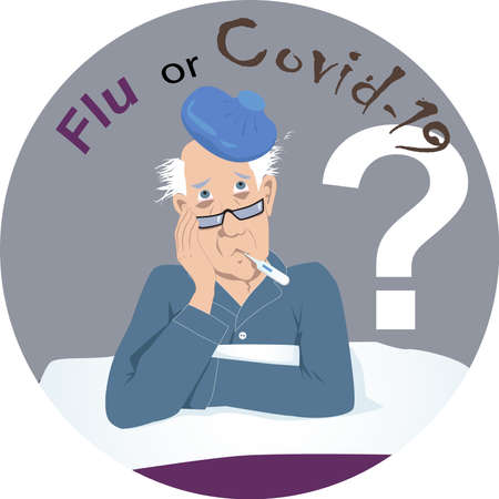 Senior man sick in bed  a thermometer and a ice bag, questioning if he is having flu or covid-19,