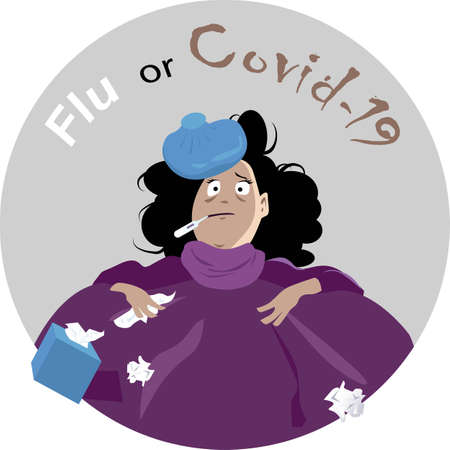 Scared woman sick in bed  a thermometer and a ice bag, questioning if she is having flu or covid-19, Illustration