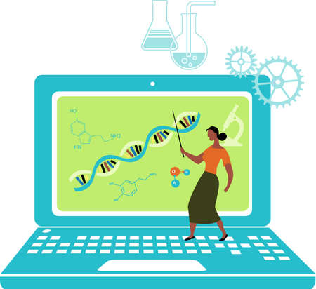 Black female professor teaching a biology class over Internet, standing on a laptop, EPS 8 vector illustration Illustration