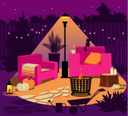 Illuminated backyard at night in fall with a fire pit, patio heater, chairs, gardening tools and seasonal decorations, no people, EPS 8 vector illustration