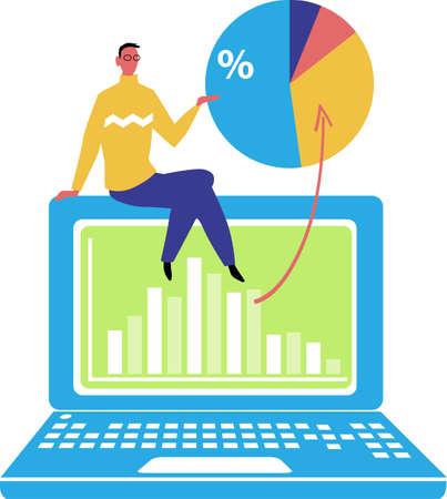 Professor teaching a class over Internet, sitting on a laptop, EPS 8 vector illustration Illustration