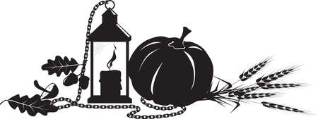 Fall harvest theme design for a header with a pumpkin, lantern, chain and wheat, EPS 8 black vector silhouette, no white objects