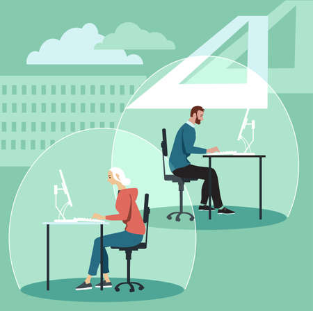 Employees working in individual bubbles as a physical distancing and pandemic hygiene measure in a reinvented office, EPS 8 vector illustration