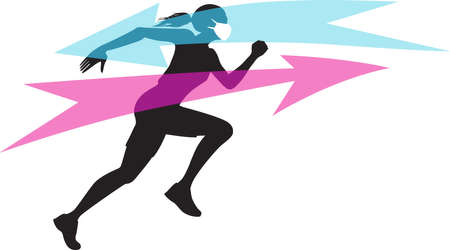 Silhouette of a running woman wearing a breathable face mask for sport, EPS 8 vector illustration, no transparencies Illustration