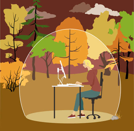 Woman working on a computer outside in a protective bubble, EPS 8 vector illustration