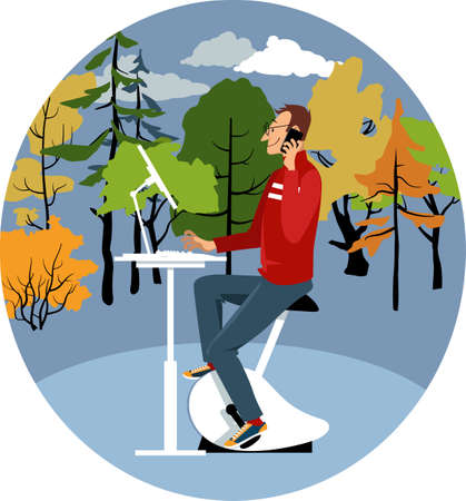 Distant worker using a stationary bicycle desk and a computer, sitting outside, autumn forest on the background, EPS 8 vector illustration
