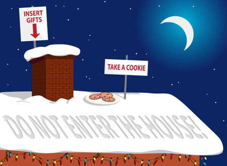 Rooftop of a house in Christmas night  cookies and safety instructions for Santa Claus as covid-19 measures Illustration