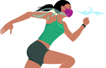 Woman running in a breathable protective face mask