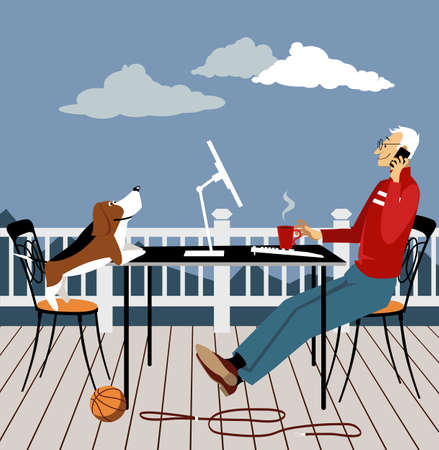 Man working remotely from the deck of his house  a dog looking at him