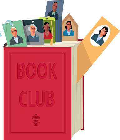 A book with bookmarks with faces of members of a book club Illustration
