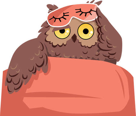 An owl in a sleeping mask waking up as a metaphor for sleep problems