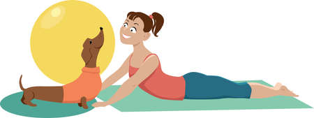 Young woman practicing doga yoga exercise with her dachshund dog, EPS 8 vector illustration