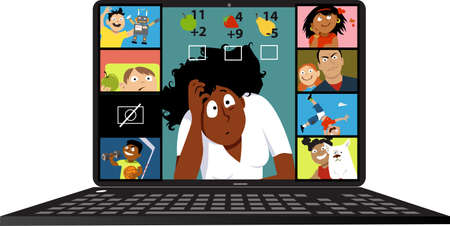 Stressed elementary school teacher having problems conducting a lesson via video chat with her students Illustration