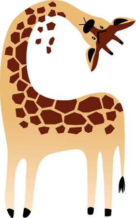 Cartoon giraffe as a metaphor for a neck pain, EPS 8 vector illustration