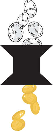 Clocks transformed into money as a metaphor for value of person's time, EPS 8 vector illustration