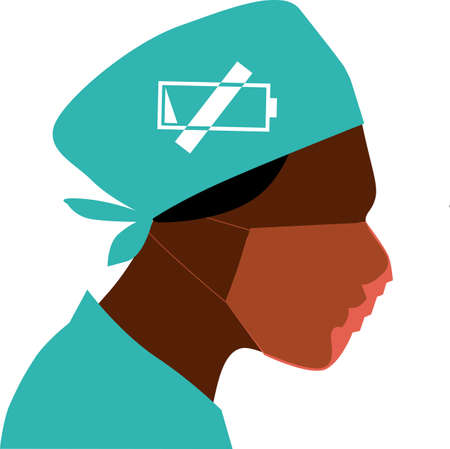 Profile of an exhausted healthcare professional with a sign for low energy on her head as a metaphor for a burnout, EPS 8 vector illustration