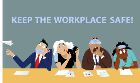 People on a business meeting after Covid-19 lockdown wearing face masks improperly, EPS 8 vector illustration