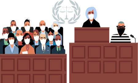 Courtroom with a jury, judge and a defendant, all wearing face covering due to a pandemic, EPS 8 vector illustration