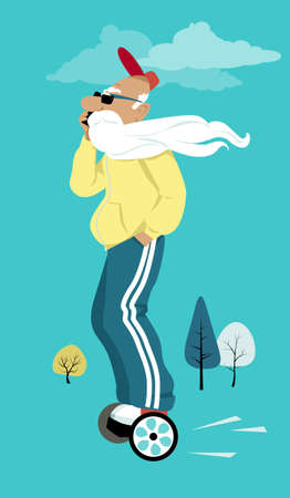 Elderly man with a long beard riding a hover board and talking on a smartphone, EPS 8 vector illustration