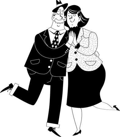 Cute cartoon senior couple dancing, EPS 8 vector illustration, no white objects