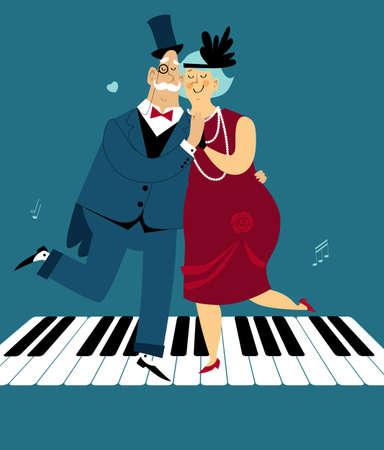 Cute cartoon senior couple dressed in 1920s fashion dancing the Charleston on a piano keys, EPS 8 vector illustration Illustration