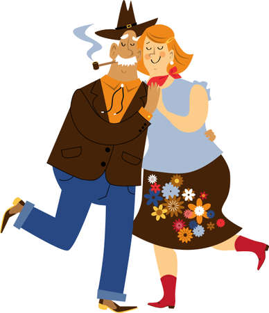 Cute cartoon senior couple dressed in traditional western clothes dancing, EPS 8 vector illustration, isolated on white
