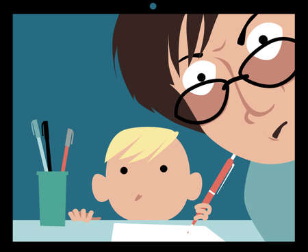 Helicopter parent controlling a child's distant learning class, EPS 8 vector illustration Illustration