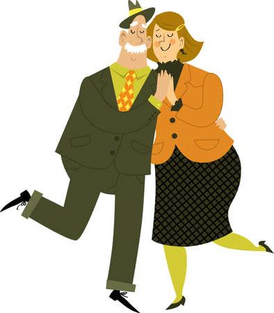 Cute cartoon senior couple dancing, EPS 8 vector illustration, isolated on white Illustration