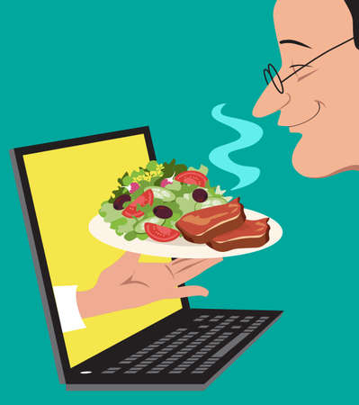A hand coming out of a computer screen offering a dish to a person who is ordering food on-line, EPS 8 vector illustration