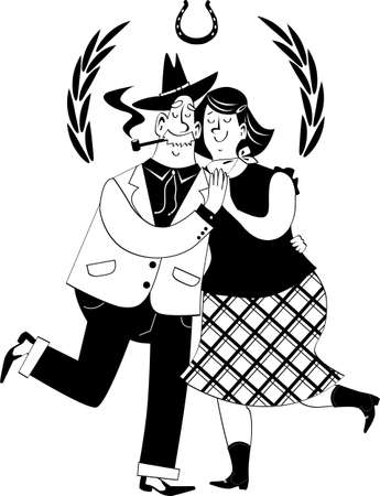 Cute cartoon senior couple dressed in traditional western clothes dancing, EPS 8 vector illustration, no white objects Vetores