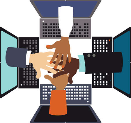 Hands reaching from computer screens as a symbol of online collaboration