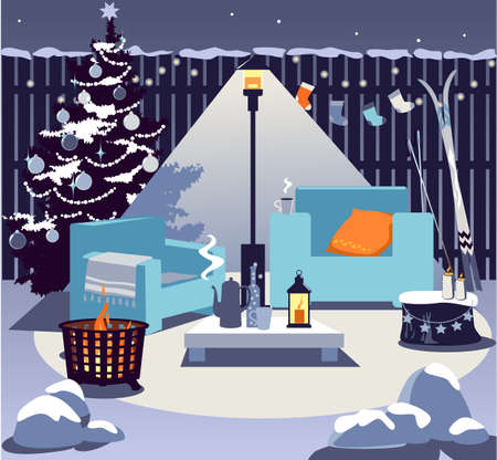 Cozy backyard in winter with a fire pit, patio heater, chairs, table with hot drink, Christmas tree and seasonal decorations, no people