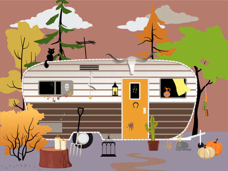 Trailer or motor home in the woods in fall, featuring seasonal and witchcraft theme decorations