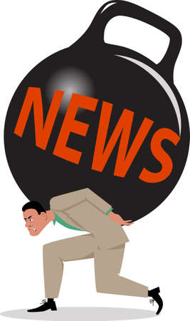 Stressed man crushed under a burden of news